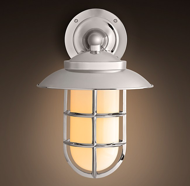 Starboard Milk Glass Sconce With Shade