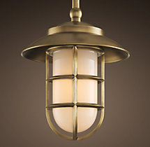 Starboard Milk Glass Pendant With Shade - Antique Brass