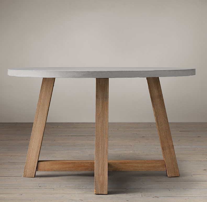 Weathered Concrete Beam Round Dining Table