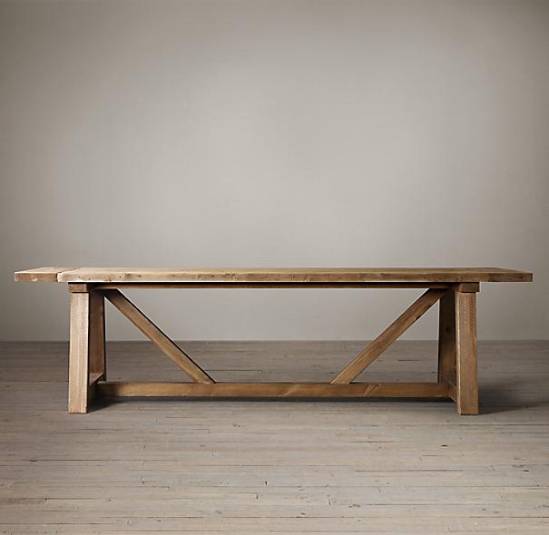 Salvaged Wood Beam Rectangular Extension Table