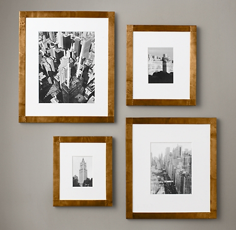 Antiqued nailhead gallery frames antique brass