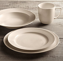 Chinese Porcelain Grand-Rimmed 16-Piece Dinnerware Set with Grand-Rimmed Soup Bowl