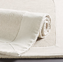 Linen-Bordered 650-Gram Turkish Bath Mat - Ivory