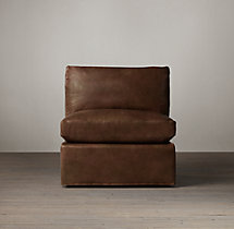 Belgian Petite Roll Arm Leather Armless Chair