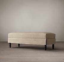 Belgian Upholstered End-of-Bed Ottoman with Nailheads