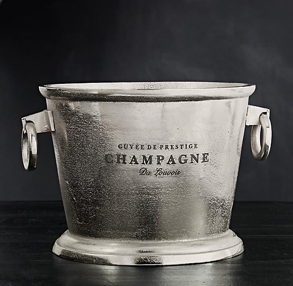 Grand Brasserie Cast Aluminum Engraved Champagne Bucket
