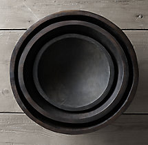 Reclaimed Ebonized Cherry Wood Bowls (Set of 3)