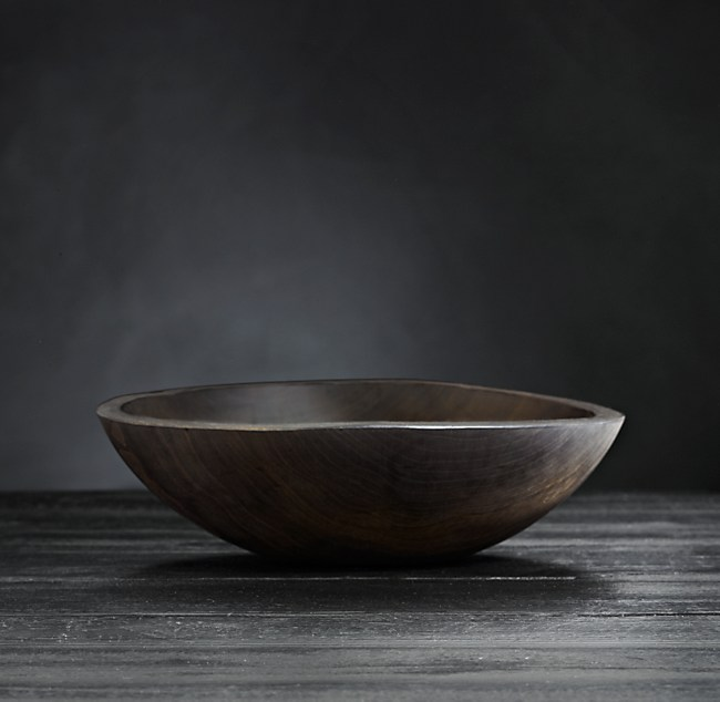 Reclaimed Ebonized Cherry Wood Bowl, Restoration Hardware