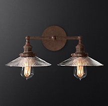 20th C. Factory Filament Ribbed Glass Double Sconce
