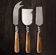 Natural Bone 3-Piece Cheese Knives Set
