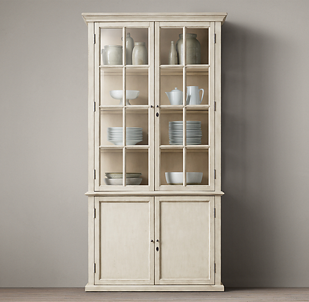 Hampton Casement Double Door Panel Sideboard& Glass Hutch