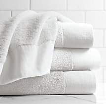 Linen-Bordered 650-Gram Turkish Cotton Bath Towel