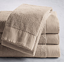Linen-Bordered 650-Gram Turkish Bath Towel - Dune