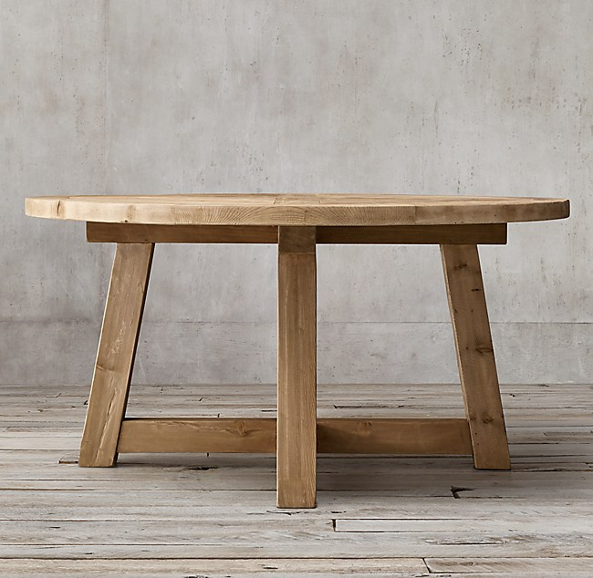 Salvaged wood beam round dining table for Table design using jsp