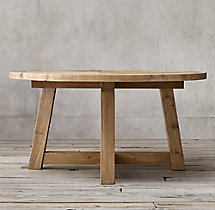 Salvaged Wood Beam Round Dining Table