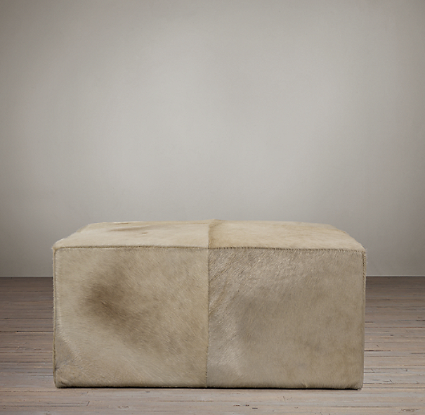 Cooper Hair On Hide Square Ottoman