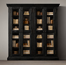 Salvaged Wood Glass 4-Door Cabinet