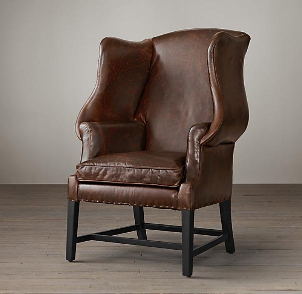 1920s Georgian Wingback Chair Leather