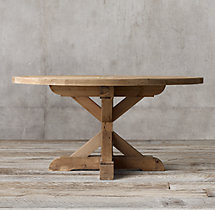 Salvaged Wood X-Base Round Dining Table