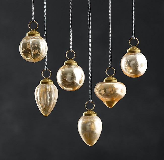 - Vintage Handblown Glass Mini Ornaments (Set Of 6) - Gold