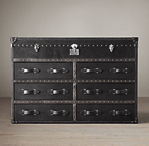 Mayfair Steamer Trunk Double Chest - Old Black Saddle