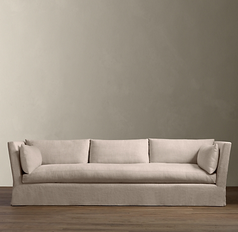 2 Lengths Belgian Shelter Arm Slipcovered Sleeper Sofa