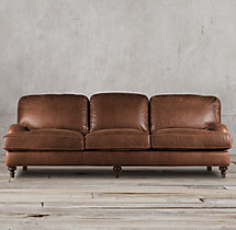 8' English Roll Arm Leather Sleeper Sofa