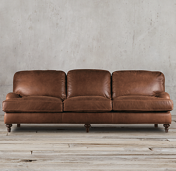 English Roll Arm Leather Sleeper Sofa