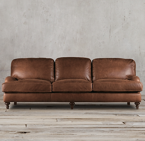 English Roll Arm Leather Collection Rh