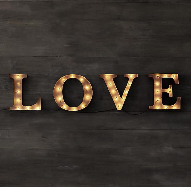 Vintage Illuminated Marquee Words - Love