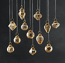 Vintage Handblown Glass Mini Ornaments (Set of 12) - Gold