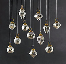 Vintage Handblown Glass Mini Ornaments (Set of 12) - Silver