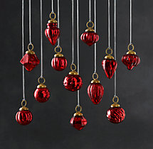 Vintage Handblown Glass Mini Ornaments (Set of 12) - Red