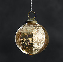 Vintage Handblown Faceted Ball Ornaments - Gold