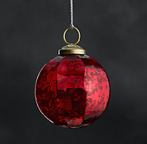 Vintage Handblown Glass Faceted Ball Ornament - Red