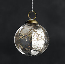 Vintage Handblown Glass Faceted Ball Ornament - Silver