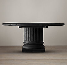 Salvaged Wood Architectural Column Round Dining Table