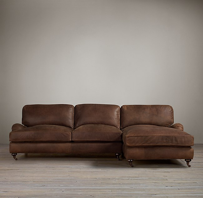 Preconfigured English Roll Arm Leather Right Arm Sofa
