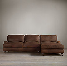 English Roll Arm Leather Right-Arm Chaise Sectional