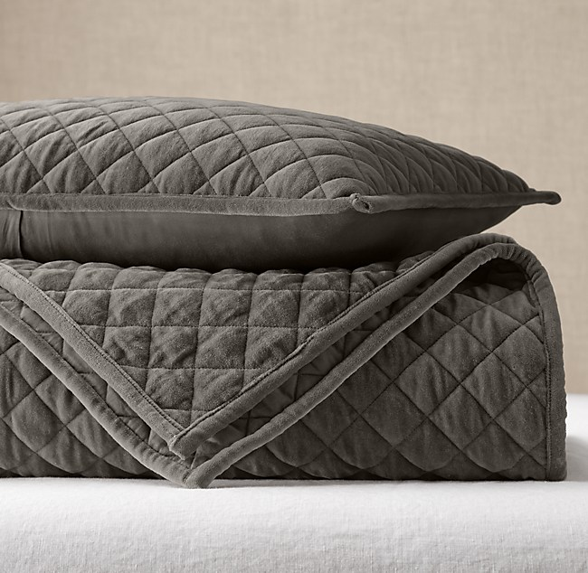 Washed Velvet Diamond Quilted Coverlet Amp Sham