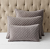 Washed Velvet Diamond-Quilted Sham