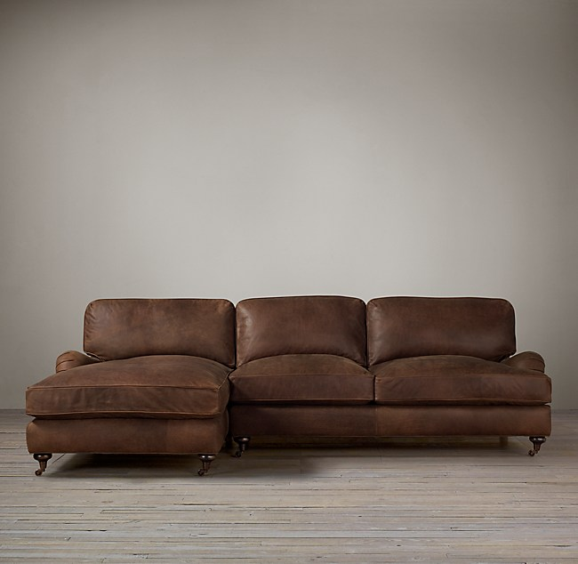 Preconfigured English Roll Arm Leather Left Arm Sofa Chaise Sectional