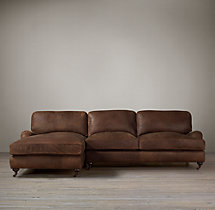 English Roll Arm Leather Left-Arm Chaise Sectional
