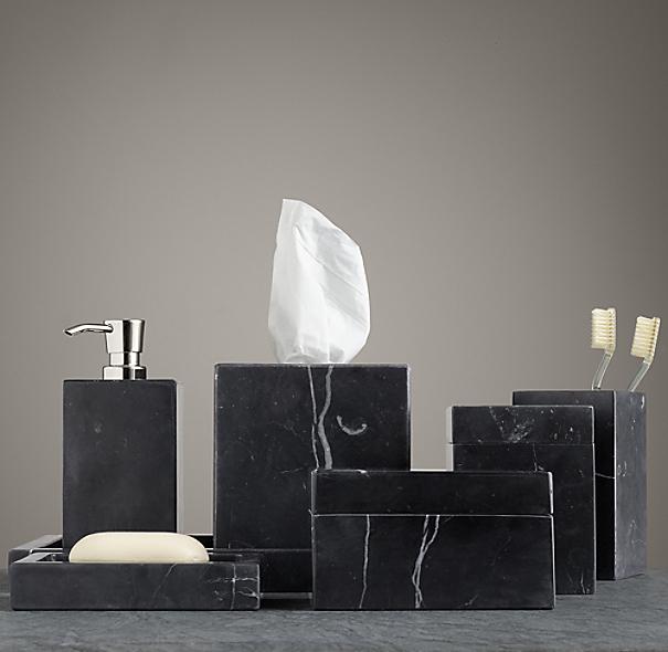 Black marble bath accessories for Restoration hardware bathroom accessories