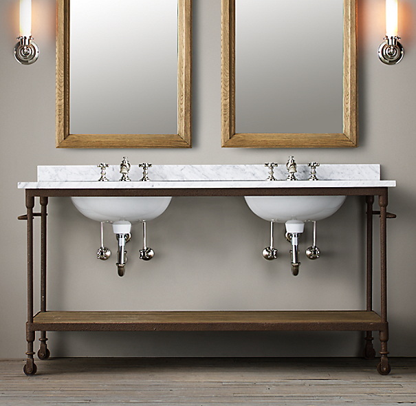 Restoration Hardware Bathroom Vanity Knockoff: Dutch Industrial Double Washstand