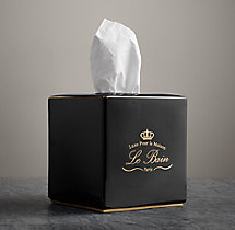 Le Bain Porcelain Tissue Box Cover Black