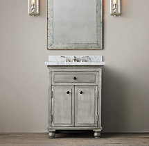 Annecy Metal-Wrapped Powder Room Vanity
