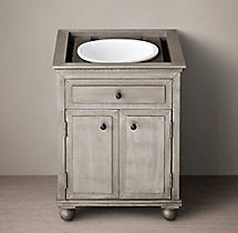 Annecy Metal-Wrapped Powder Room Vanity Base