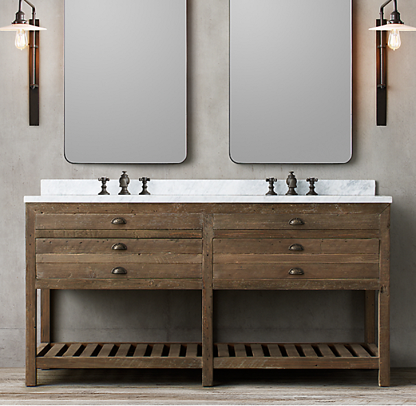 Restoration Hardware Bathroom Vanity Knockoff: Printmaker's Double Washstand