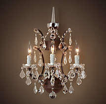 19th C. Rococo Iron & Clear Crystal Sconce 18""